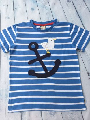 Frugi blue and white striped tshirt with applique dove and anchor age 8-9